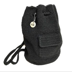 THE SAK Black Crocheted Bucket Bag Backpack